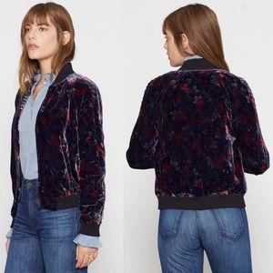 Joie Mace Velvet Front Zip Up Bomber Jacket